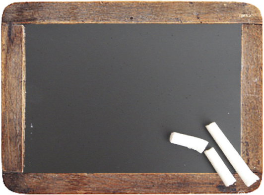 A chalkboard with a wooden frame with some chalk laying on it